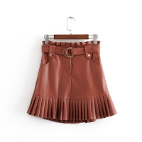 New fashion trend of autumn women's wear in 2019 small pleated imitation leather mini-step cake skirt