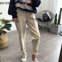 BGTEEVER Spring Thicken Women Pencil Pants Plus Size Wool Pants Female Autumn High Waist Loose Trousers Capris Good Fabric