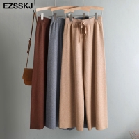 2020 autumn winter new THICK casual straight pants women female drawstring loose knitted wide leg pants casual Trousers