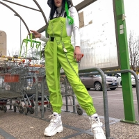 NCLAGEN Stylish jumpsuit Pockets Overalls Chains Buckles Women Suspenders Trousers Loose Streetwear Capris Female Casual Pants