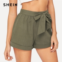 SHEIN Self Belted Elastic Waist Shorts Fitness Swish Women Army Green Solid Mid Waist Shorts 2019 Fashion Summer Shorts