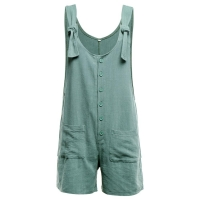 summer beach Playsuit Women basic Casual Button Pocket Jumpsuit Linen Vintage Shift Spaghetti-Strap Rompers Macacao#ss