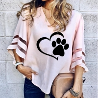 Dropshipping New Fashion Dog Paw T Shirt Women Sexy V-neck Splicing Hollow Plus Size T-Shirt Female Tops Half Sleeve Harajuku