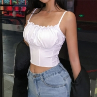 Sexy 2019 Summer Women Ruffles Tank Top Fashion Ladies Sleeveless Strapless Ruched Slim Crop Top Camisole Female Clothing Tanks