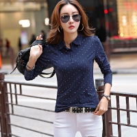 New 2017 Polo Women Long Sleeve Dot Casual Polo Shirt For Women Cotton Polos Mujer Casual Summer Tops Tees Ladies Polo
