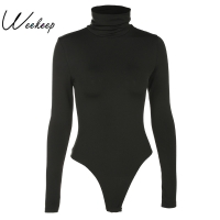 Weekeep Women Black Long Sleeve Bodysuit Autumn Winter Turtleneck Bodysuits Womens Sexy Bodycon High Waist Romper Body Femee