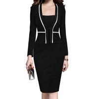 Women Dress Suit Jacket Bodycon Ladies Office Formal Business Work Wear Elegant Midi Pencil Dresses Vintage Clothes Plus Size