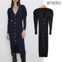Withered winter dress women vestidos england vintage single breasted navy knitting vestidos de fiesta de noche maxi dress women