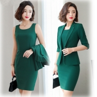 Ladies Office Wear Dress Suits 3/4 Sleeve Slim Blazer+Sleeveless Dress 2 Piece Set Vestido Formal Mujer Dress Ladies Suit 8092