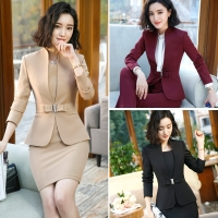 IZICFLY Formal Office Dress Set for Womens Blazers long Sleeve Uniform Elegant Feminino Business Jacket Dress Suit Plus Size