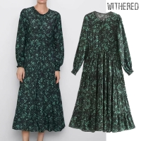 Withered england elegant green floral printing o-neck pleated dress women vestidos de fiesta de noche vestidos maxi dress blazer