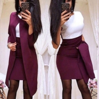 Fashion Women Skirt Suits One Button Notched Striped Blazer Jackets And Slim Mini Skirts Two Pieces Ol Sets Female Outfits#2