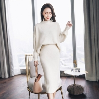 Women Long Sleeve Pullover Sweater And Bodycon Skirt Two Piece Set Office Wear Knitted Outfits Sweater Dress Suit