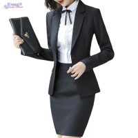 2019 Formal Skirt Suits Women Business Work Jacket Trousers Set Fashion Casual Blazer Office Lady Female Clothing Spring