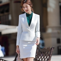 Office Suit for Woman Office Uniform Designs Elegant Full Sleeve White Slim Ruffle Blazer Skirt 2 Pieces Interview Suits ow0515