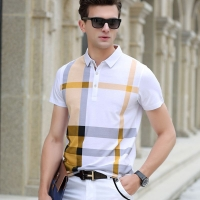 2020 summer polo shirt men's brand clothing cotton short sleeve business casual plaid designer homme camisa breathable plus size