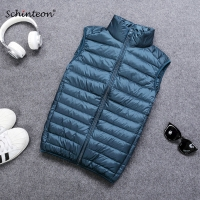 Schinteon 90% White Duck Down Men Vest Gielt Casual Waistcoat Spring Autumn Light Down Jacket Male