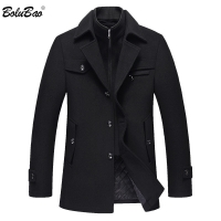 BOLUBAO Men Winter Wool Coat Men's New High Quality Solid Color Simple Blends Woolen Pea Coat Male Trench Coat Casual Overcoat