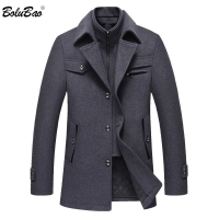BOLUBAO Men Winter Wool Coat Men's Fashion Brand Comfortable Warm Thick Wool Blends Woolen Pea Coat Male Trench Coat Overcoat