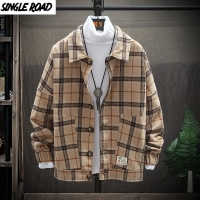 SingleRoad Woolen Coats Jackets Men 2019 New Autumn Winter Retro Casual Wool Plaid Coat Male Fashion Jacket Korean Streetwear