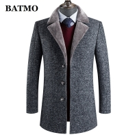 BATMO 2019 new arrival winter high quality wool thicked trench coat men,men's gray wool jackets ,plus-size M-4XL,AL41