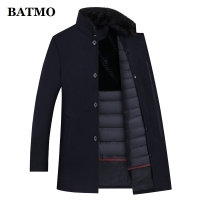 BATMO wool trench coat men,men's 90% white duck down wool jackets ,thicked wool coat men,plus-size M-XXXL 8866