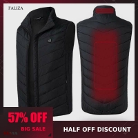 FALIZA USB Heated Vest Men Winter Heating Jacket Male Waistcoat Thermal Warm Clothing Feather Sleeveless Gilet Homme Vests MJ117