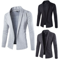 Men's Blazer Business Work Fashion High-quality Autumn winter Casual Slim Fit Solid No Button Suit  Coat Jacket Outwear