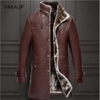 2020 Mens Sheep Leather Jacket Coat Parka Real Fur Mens Clothing Long Plush Thick Over Winter Sheepskin Large Size Jackets Men