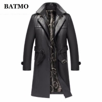Batmo 2020 new arrival autumn&winter real Leather thicked trench coat men,Leather jacket men,plus-size S-5XL