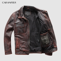 CARANFIER DHL Free Shipping Mens 100% Cowhide Genuine Leather Jacket  High quality old retro motorcycle leather jacket 3XL