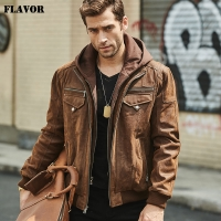 FLAVOR New Men's Real Leather Jacket with Removable Hood Brown Jacket Genuine Leather Warm Coat For Men