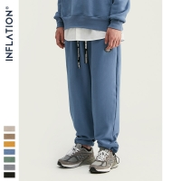 INFLATION DESIGN Super Loose Fit Men Sweatpants In Pure Color Loose Fit Retro Style Mens Sweatpants Street Wear Men Pants 93402W