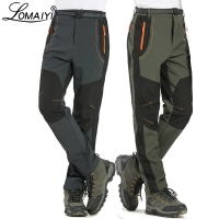 LOMAIYI 5XL Men's Warm Winter Pants Men Fleece Lining Cargo Pants Mens Waterproof Trousers Male Stretch Casual Work Pants AM110