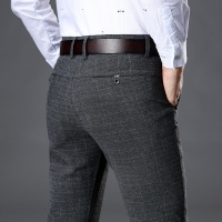 2019 Men's Stretch Stripe Casual Pants Men's Four Seasons High Quality Business Trousers Men's Straight Trousers Harem Pants