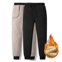 Thicken Sweatpants Winter Men's Plus Velvet Padded Trousers Slim Large Size Warm Pants Solid Trend Sports Jogges M-5XL,ZA306