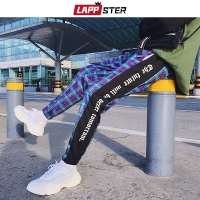 LAPPSTER Men Streetwear Plaid Pants Joggers 2020 Mens Patchwork Blue Sweatpants Ankel-length Cotton Hip Hop Track Pants Trousers