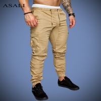 ASALI Solid Sweatpants Men Joggers Multi-pocket Pants Autunm 2019 New Fashion Long Trousers Male Elastic Waist Men's Sportswear