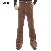 Men's micro-bell-bottoms loose section Speaker casual pants Corduroy long pants black autumn and winter thick trousers 36 38