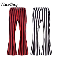 TiaoBug Men 70s Retro Vintage Mid Waist Striped Stretchy Bell Bottom Ballroom Dance Trousers Super Flares Long Pants Costumes