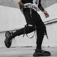 April MOMO 2020 Men New Spring Hip Hop Pants Club Singer Stage Costume Trousers Ribbons Streetwear Joggers Sweatpants Hombre