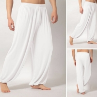 Men Super Soft Yoga Pilates Pants Loose Casual Harem Loose Wide Leg Lounge Pants Male Trousers XRQ88