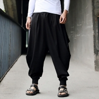 Men's Harem Pants Cotton Linen Loose Festival Baggy Solid Trousers Retro Gypsy Pants Comfortable high quality Men Pant Trousers