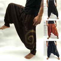 2019 New Casual Mens Baggy Harem Pants Hippie Boho Trousers Cotton Soft Loose Pants Beach Yoga Long Slacks Trousers Jogger M-3XL