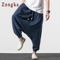 Zongke Streetwear Cotton Linen Cross-Pants Men Trousers Men Pants Jogger Hip Hop Sweatpants Joggers Cargo Pants Men 2020 New
