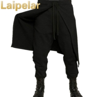 Laipelar Cool Mens Gothic Punk Style Harem Pants Black Hip Hop Streetwear Skinny Dress Skirt Pants Trousers Faux two pieces set