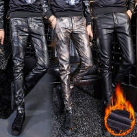 Men Printed Leather Pants Winter Fleece Warm PU Leather Casual Trousers High Quality Long Thicken Elastic Skinny Pencil Pants