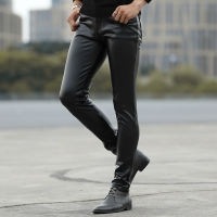 2020 autumn of cultivate one's morality play high fashionable young tight leather pants and feet locomotive PU leather pants