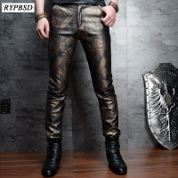 2 Colors Fashion Faux Leather Pants for Men Slim Skinny PU Leather Pants Men High Quality Zipper Faux Leather Pencil Pants