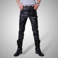 2019 Men skinny faux leather leisure pants black pu Shiny pants singers club performance on stage Dancer jeans plus Negotiating